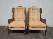 Chairs Faux Bamboo Cane Wing Back Wingback Vintage Regency Armchairs Seating