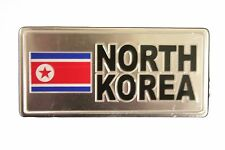 NORTH KOREA COUNTRY FLAG-SILVER LICENSED STICKER FLAG PLATE..SIZE: 6 X 3 INCH