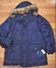 $295 NEW TOMMY HILFIGER Men WINTER WARM COAT JACKET DOWN HOODED FUR NAVY XL