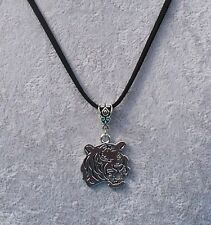 Lovely Tibetan Silver Tiger Pendant Black Suede Necklace.Handmade.