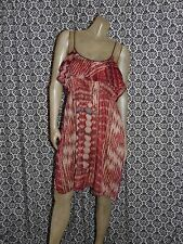 Converse Red Tan Ruffled Bodice Sleeveless Blouson Dress Womens MEDIUM USED