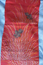 Antique Red Orange Spidery Mums Meisen Vintage Japanese Kimono Silk Fabric 61""