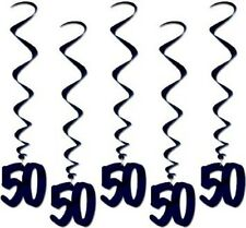 Number 50 Whirls (5pc pkg) black BIRTHDAY OR ANNIVERSARY DECORATION