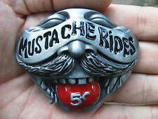 Vtg MUSTACHE RIDES Belt Buckle 3D Moustache SEXY Humor Tongue Pussy RARE MINT