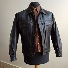 VINTAGE CLASSIC REAL LEATHER WESTERN TRUCKER JACKET (NOT LEVI'S) SMALL 36/37