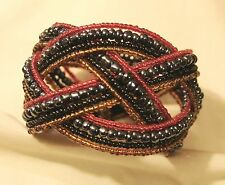 Lovely Opalescent Hematite Black Red Seed Beads Braided Cuff Bangle Bracelet