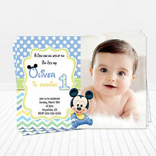 PRINTED Baby Mickey Mouse 1st Birthday Invitations Mickey Party Invitations