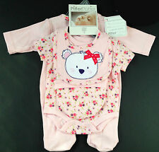 NEW Baby Girls Teddy Bear Vintage Floral 4 Piece Newborn Gift Set