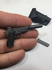 "1/6 DRAGON SMITH&WESSON MK-22 ""HUSH-PUPPY""SILENCER PISTOL+HOLSTER 21ST BBI DID"