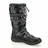 Ladies Womens Warm Fur Lined Flat Grip Sole Winter Aztec Snow Boots Shoes Size