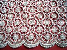 "Victorian Venise  Guipure Circle Lace 14"" Rayon White Satin $ Sale 1390"