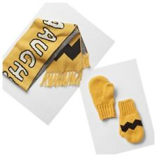Baby GAP Peanuts Charlie Brown Scarf & Mittens Gloves Set Yellow Toddler S/M nwt