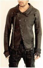 BORIS BIDJAN SABERI MEN'S LEATHER ASYMMETRIC DISTRESSED JACKET COAT XS S X-SMALL