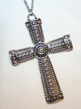Handsome Large Textured Metal Beaded Silvertone Spiral Pectoral Cross Necklace