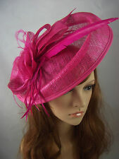 Fuchsia Pink Large Oval Saucer Sinamay Fascinator - Occasion Wedding Races Hat