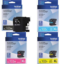 4 Genuine Brother LC103 XL Bk C M Y ink J6720DW J6920DW J870DW J875DW LC103 103