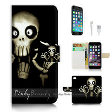"iPhone 6 Plus (5.5"") Print Flip Wallet Case Cover! Funny Skull P0441"