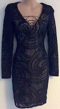 LIPSY LADIES BLACK LACE UP LONG SLEEVED MINI MICHELLE PARTY DRESS NEW SIZE 8