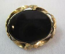 LATE VICTORIAN BLACK GLASS & GOLD PL STAMPED RIBBON & FLOWER FRAME PIN C) 1900