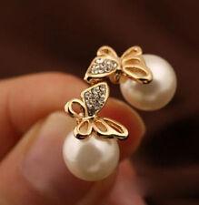 Butterfly Women Crystal Golden Imitation Pearl Ear Stud Earrings Earbob dangler