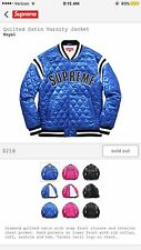 SUPREME QUILTED SATIN VARSITY JACKET BLUE SIZE SMALL GUARANTEED 100%