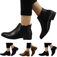 NEW WOMENS LADIES FLAT LOW HEEL PULL ON CHELSEA STRETCH ANKLE BOOTS SHOES SIZE
