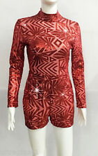 RED PATTERN SEQUIN BODYSUIT/DANCE COSTUME/SWIMSUIT/DRAG QUEEN/ 8-12 (Maybe 14)