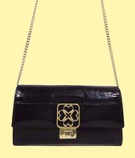 L.K.BENNETT Logo Dark Purple Leather Clutch Convertible to Cross Body Bag  $650