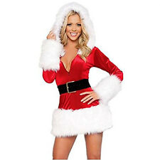 Women's Sexy Christmas Santa Claus Cosplay Hooded Dress Xmas Party Costume Red