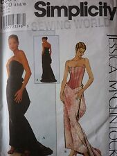 SIMPLICITY CORSET BODICE BUSTLE & TRAIN WEDDING OR EVENING DRESS SEWING PATTERN