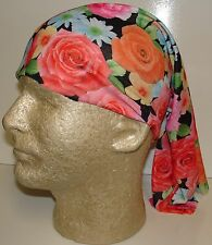 red pink roses floral chemo therapy hair loss head wrap cover turban scarf wig