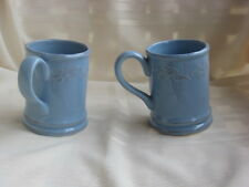 HEARTHSTONE HOME 2   BLUE COFFEE / TEA MUG / CUPS  HOLLY & BERRY HANDPAINTED