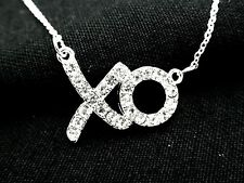 Hugs & Kisses XO Women Austrian Crystal Necklace Silver Plated