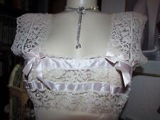 1940s vtg Lady Edso Ivory Bridal Rayon Satin ROMANTIC Lace Nightgown Lingerie 36