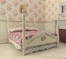 Dollhouse Miniature Shabby Chic Dressed 4 Poster Bed Pink Mauve Patchwork Quilt