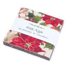 "HOLLY NIGHT Christmas Charm Pack, Precut 5"" Squares, Metallic Quilting Fabric"