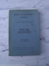 Haggard, H. Rider KING SOLOMON'S MINES Proof Copy