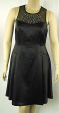 City Chic Sexy Black Beaded Sleeveless Panel Empire Dress Size S 16 BNWT # I53
