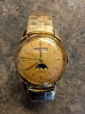 Vintage Zodiac Triple-Date Moonphase Mechanical Hand-Winding Watch Working