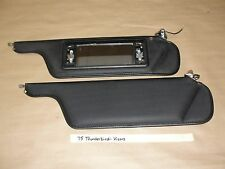 75 Ford T-bird Tbird MATCHED PAIR SUN VISORS SET W/ HINGES LIGHTED MIRROR BLACK