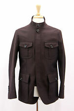 NWT Tom Ford Men 100%Wool Wine Herringbone Jacket W/100% Leather Details 48/38US
