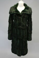 OSCAR DE LA RENTA Green Cotton Cashmere Fur Pocket Front Long Sleeve Coat Sz 2