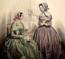 LE FOLLET 1845 Hand-Colored Fashion Plate #1247 Gowns in Purple & Green PRINT