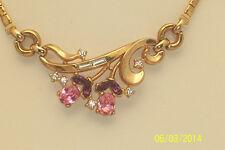 Vintage Signed Trifari Pink & Purple Rhinestone Necklace