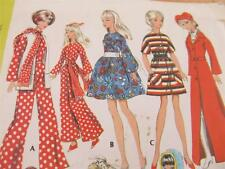 VTG MCCALLS SEWING PATTERN 1969 BARBIE DOLL MINIDRESS ROBE BRIDE JUMPSUIT +