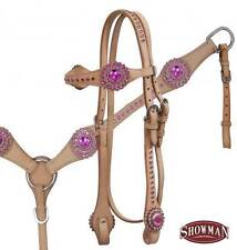 NEW Showman LIGHT OIL Bridle Breastcollar and Reins Set w/ PINK Rhinestones!