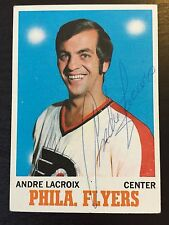 1970-71 ANDRE LACROIX SIGNED HOCKEY CARD,Philadelphia Flyers / Blazers,WHA Great