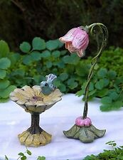 Miniature Dollhouse FAIRY GARDEN Furniture ~ Fairytale Flower Birdbath & Post