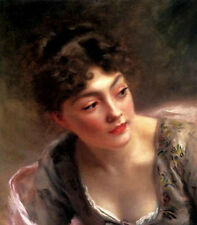 Oil painting Gustave Jean Jacquet - Stunning art girl in landscape free shipping