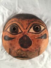 "Vintage Old African Round Face Mask Wall Hanging Display Paper Mache 8"" Diameter"